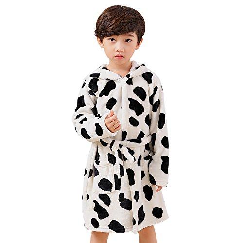 Preisvergleich Produktbild Kinder Flanell Bademantel für 110-130cm Mädchen und Jungen Morgenmantel mit Kapuze und Gürtel Kuh