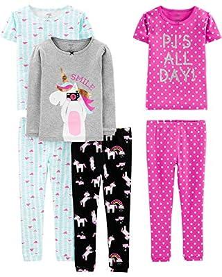 Simple Joys by Carter's - Pijamas enteros - Juego de pijama de algodón de ajuste cómodo de 6 piezas. - para bebé niña