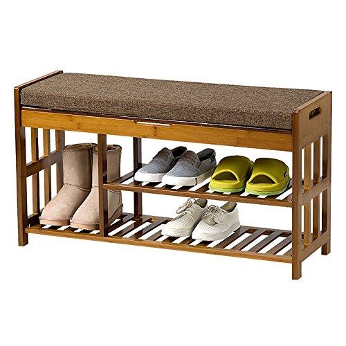 LFF- Schuhregal Bambus Schuhregal mit Lagerung Fach Schuhe Bank mit Schwamm Pad 90x30x50cm Ständigen Speicherorganisator (Kinder-schlafzimmer-lagerung-bank)