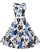 ACEVOG Elegant Damen Aermellose 1950er Retro Vintage Floral Party Cocktailkleider Abendkleider Sommerkleid Knielang