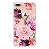iPhone 7 Plus Case with flowers,iPhone 8 Plus Case, LUOLNH Slim Shockproof Clear Floral Pattern Soft Flexible TPU Back Cover [5.5 inch] -Purple Rose