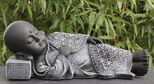Buddha Figur liegend aus Stein – Schiefergrau - 2
