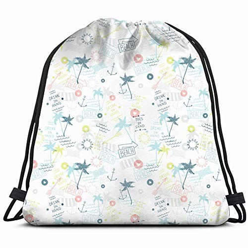 fjfjfdjk Summer Beach Old School Tattoo Sports Recreation Drawstring Backpack Gym Sack Lightweight Bag Water Resistant Gym Backpack for Women&Men for Sports,Travelling,Hiking,Camping,Shopping Yoga