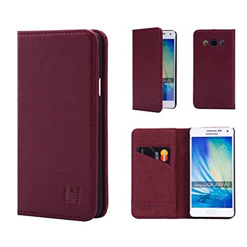 Samsung Galaxy A5 (2015) Portafoglio in pelle Progettato da 32nd®, disegno classico in pelle reale di slot per schede e Screen Protector Premium - Borgogna