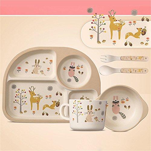 Per 5 stücke Cartoon Geschirr Set Platte + Gabel + Schüssel + Tasse + Löffel Bambusfaser Umweltfreundliche Fütterung Set Für Kinder Kleinkinder Jungen und Mädchen