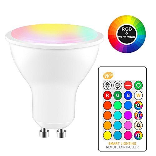 RGBW LED Bulb, 8W GU10 Color Changing Spotlight Bulb, IR Remote Control Atmosphere Lighting LED Lamp Flash Strobe Fade Mode Bar KTV Decorative Lights Smart Home Light