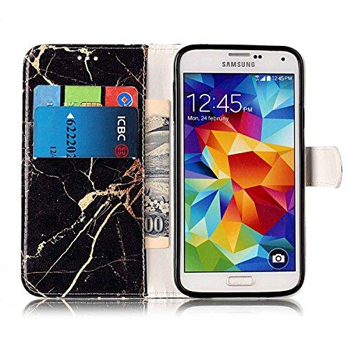 Samsung Galaxy S5 Custoida in Pelle Portafoglio,Samsung Galaxy S5 Cover Pu Wallet,KunyFond Lusso Moda Marmo Dipinto Leather Flip Protective Cover con Bella Modello Cover Custodia per Samsung Galaxy S5 Marmo in oro nero