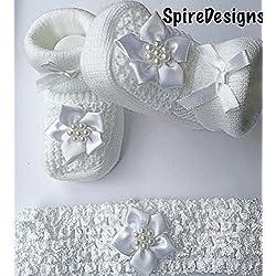 De fotos de bebé para hacer vestidos de niña de sharla fults blanca de la flor de la de felicitación para bautizo calcetines antideslizantes con separación de zapatos de y de agujas de ganchillo - - Heaband incluye caja de regalo incluyen bolsa de transporte 0-3 más posibilidades sin fin