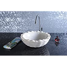 CAPSTONA Impression White Marble Countertop/Tabletop Wash Basin Round Hand Carved Bathroom Sink 400 x 400 mm