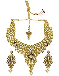 My Design Gold Plated AD Stone Bridal Necklace Set With Maang Tika