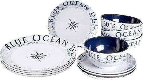 Brunner Melamin Geschirr Campinggeschirr Blue Ocean 12tlg antislip