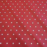 Stoff Meterware wasserdicht Sterne rot weiß klein