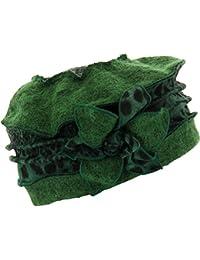 Charleselie94® - Bonnet béret laine bouillie hiver léopard vert ARNOLD