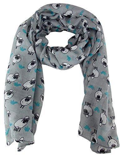 city-girl-ladies-sheep-print-chiffon-scarf-ornamental-kerchief-one-size-grey