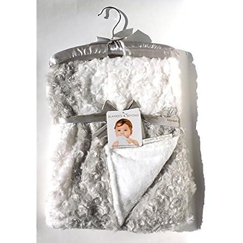 Blankets & Beyond Soft Swirl Patchwork Light Grey & White Baby Blanket w/ Decorative Satin Hanger by Blankets &
