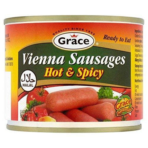 Gnade Halal Hot & Spicy Wiener Würstchen 200G (Packung mit 4)
