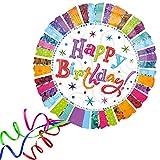 paduTec Heliumballon Ballon Folienballon - Happy Birthday Glitzer Geburtstag Deko - mit Helium gefüllt