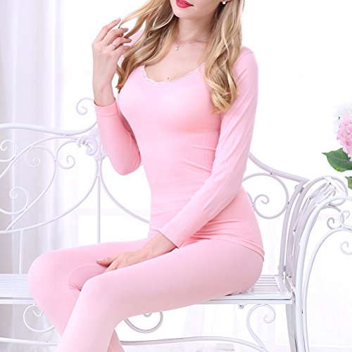 Zhhlaixing Donne Winter Thin Round Neck Thermal Underwear Set Slim Body-shaped Long Sleeve Pajamas Pink