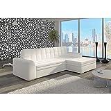 JUSThome Conforti Sofá esquinero chaise longue función de cama Sofá-cama Piel sintética (BxLxH): 165x270x80 cm Blanco Brazo derecho