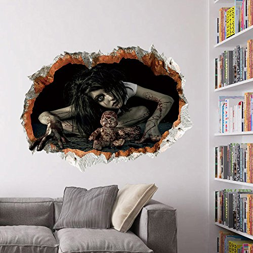 Halloween Scary Ghost Wandaufkleber, BAFFEKT® 24 * 18