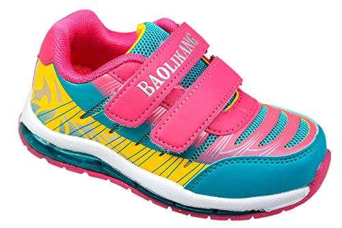 GIBRA® Kinder Sportschuhe, mit Klettverschluss, pink/türkis/gelb, Gr. 25-36 pink/türkis/gelb