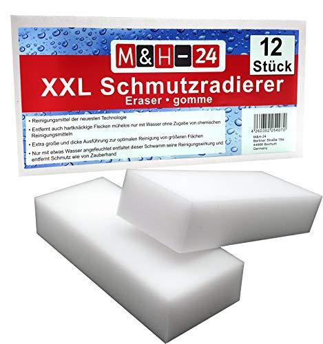 M&H-24 Schmutzradierer Schwamm Premium XXL Groß - Radierschwamm Wunderschwamm Zauberschwamm Reinigungsschwamm für Wand Tapete Schuhe Fußboden 125 x 65 x 30 mm, Weiß 12 Stück -