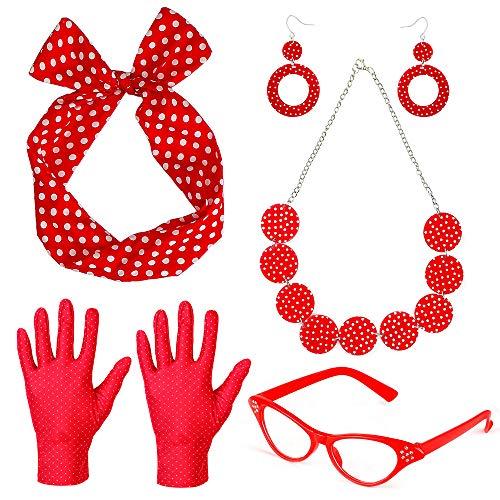 Klassische 1950er Erwachsene Für Kostüm - Beelittle 50's Damen Kostüm Accessoires Set Polka Dot Bandana Krawatte Stirnband Ohrringe Halskette Handschuhe Retro Cat Eye Eglasses (Rot)