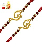 #7: Mahi Combo of Twince Om Rudraksha Designed Rakhis (kalava) Gold Plated for Brothers CO1104642G
