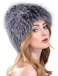 VEMOLLA Berretto per Donna in Pelliccia di Volpe Argentata Cappello Caldo  alla Moda Protegge Gli Orecchi c2a45014006e