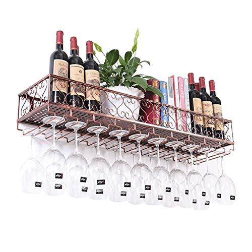 U-küche Regal (DUDDP Weinflaschenhalter Weinregale an der Wand befestigtes Metallweinregal, europäisches Eisenwein-Glas-hängendes Gestell u. Halter-Regal für Küchen- / Bar- / Restaurantweinkühler-Wandregal-Speicher-)