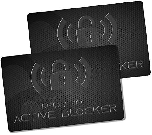 GranHin Active Blocker (2er-Set) | RFID NFC Schutzkarte | Störsender | Neueste E-Field Technologie | Schutz für Kreditkarte, EC Karte, Ausweis mit Einer Karte in der Geldbörse | Schutzhüllen unnötig