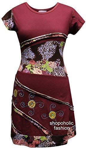 SHOPOHOLIC FASHION - Robe Femme Fille Couleur Bordeaux Brodée Style Hippy rosso vivo
