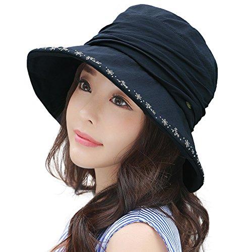 Sonnenhut Damen Strandhut Baumwolle Bucket Hat mit Kinnriemen gro/ßer Rand Sommerhut Faltbar Anti-UV Hut aufrollbare Schlapphut f/ür Reise und Urlaub
