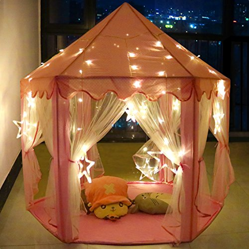 Pink Princess Castle Play Tent with LED Lights Girls Play House Durable Indoor/Outdoor Use for kids