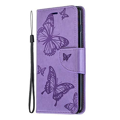 Huawei P30 Lite Handyhülle für Huawei P30 Lite Hülle Wallet Case Cover PU Leder Tasche Schmetterling Flipcase Schutzhülle Handytasche Skin Ständer Klapphülle Schale Bumper Lila
