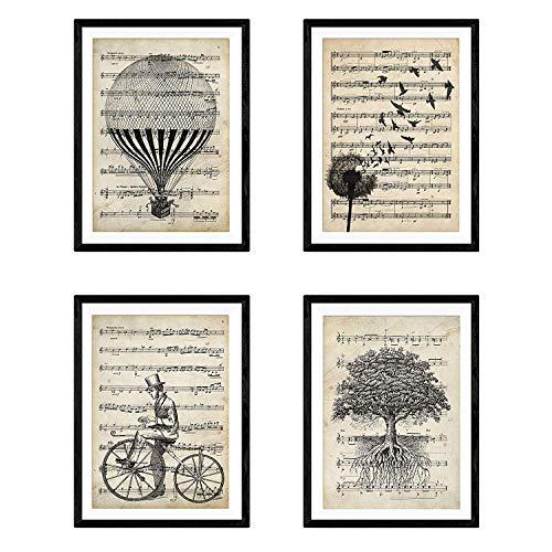 Nacnic Set 4 láminas enmarcar partituras. Tamaño