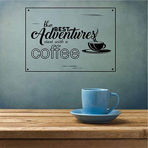 in Gemütlicher Lebensstil Zitiert Aufkleber Für Wohnzimmer Die Besten Abenteuer Beginnen Mit Einem Kaffee Wasserdicht 57 * 40Cm ()