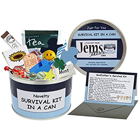 Godfather Survival Kit In A Can. Novelty Fun Gift - Humorous Godparent All In One Thank You Present & Card. Christening/Baptism/Naming Day Thankyou From A Godson/God Daughter. Customise Your Can Colour. (Blue/Navy) by Survival Kit In A Can