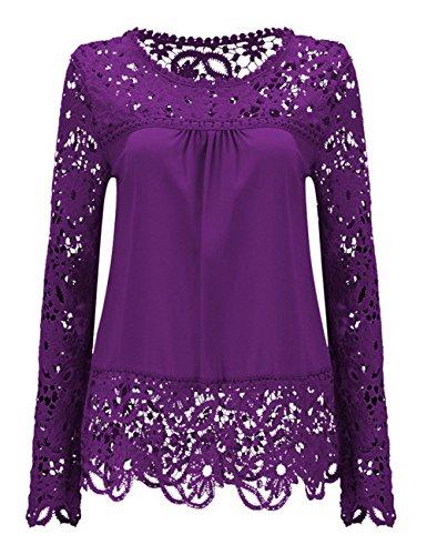 Shinekoo® Damen Langarm Plus Größen Spitze Chiffon Tops Sommer Shirt Bluse Lila