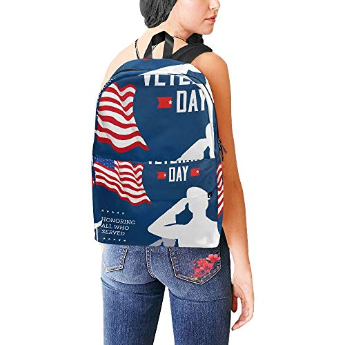 Classic Cute Honor American Happy Veterans Day Wasserdichte Daypack Taschen School College Campus Rucksäcke Rucksäcke Bookbag für Kinder Frauen und Männer Reisen mit Reißverschluss und Innentasche
