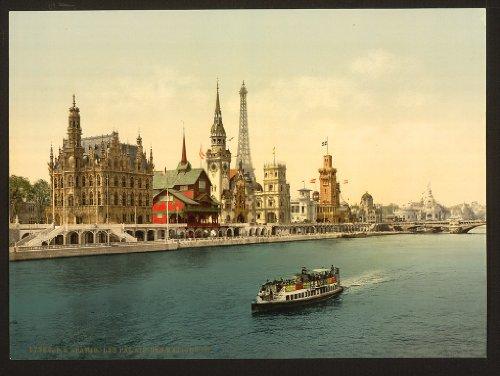 Vintage View der Pavilions der Nationen, III, Exposition Universal, 1900, Paris, Frankreich, groß,...