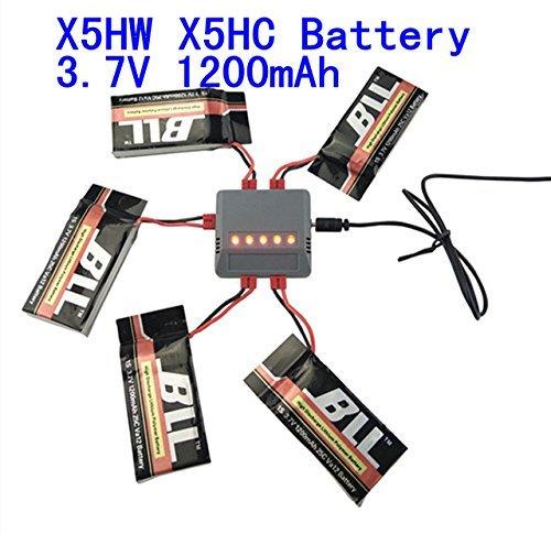 Fytoo 5pcs 3.7V 1200mAh Batería & 5 en 1 Cargador para Syma x5hw x5hc RC Drone Quadcopter