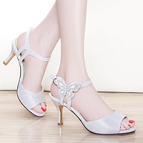 Sommer Damen Mode Sandalen komfortable High Heels, 34 Rot (mit 8 cm) White