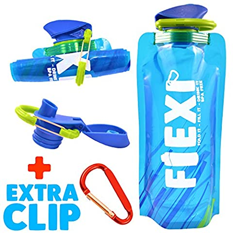 FOLDABLE WATER BOTTLE - Large 700ML | BPA Free by FLEXI - Collapsible Bottle, Portable, Soft, Squeezable & Flexible Bottle For Hiking, Outdoor, Camping, Adventure, Gym &Travel - Plastic Sports Bottle. Refillable, Reusable, Ultra Durable - EXTRA Carabiner Clip || 2 Bottles Deal Available