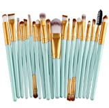 Eouine 20 pcs Make Up Pinsel Set Professionelle Schminkpinsel Kosmetikpinsel Makeup Brushes Set Profi Lidschatten Gesichtspinsel Eyeliner Augenbraue Lippen Puder Cremige Foundation Bürste Kit (Grün - Gold)