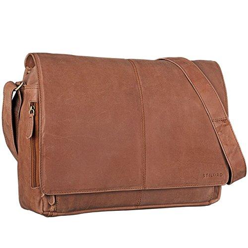 STILORD \'Alex\' Vintage Ledertasche Männer Frauen Businesstasche zum Umhängen 15,6 Zoll Laptoptasche Aktentasche Unitasche Umhängetasche Leder, Farbe:Cognac - Hellbraun