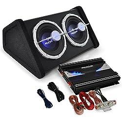 """Auna Set """"Black Line 140"""" Impianto audio auto car sistema completo Hi Fi (2800 Watt, amplificatore, doppio subwoofer, cavi per collegamento)"""