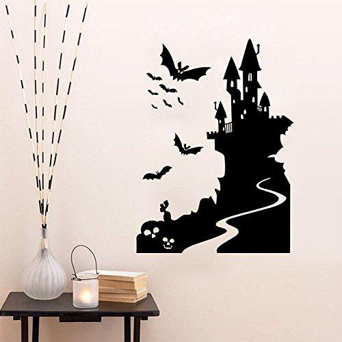 'F & H clest Halloween Tapete Castle Fledermäuse Creative Wand Aufkleber Home Dekoration Zubehör für Wohnzimmer Schlafzimmer Wanddekoration