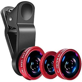 Super Wide Angle Lens+ 180 Degree Fish Eye Lens +Macro Lens ,Yarrashop® 3 in 1 Mobile Phone Camera Lens Kit for iPhone 6s / 6s Plus, iPhone 6 / 6 Plus, iphone 5 5S 5C , iPad mini iPad 5 4, Samsung Galaxy S7/S7 Edge, S6/S6 Edge, S5, Note 5 ,A7,A5 ,J5,Sony Smart phones (Red)