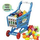 deAO Carrito de la Compra Infantil Incluye Variedad de 50 Productos de Mercado y Comestibles (Azul)